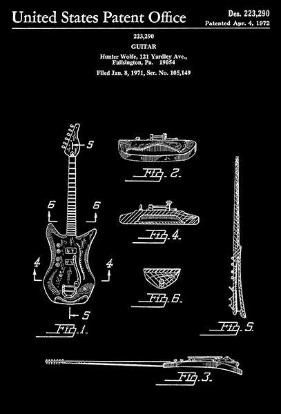 Primary image for 1972 - Guitar - H. Wolfe - Patent Art Poster