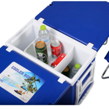 Portable Cooler with Table 2 Stool Camping Rolling Plastic Steel Blue 41... - $84.76