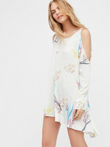 Free People Clear Skies Cold Shoulder Printed Tunic Mini Dress S Neutral - $32.66