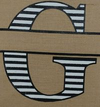 Kate Winslet Brand Brown Burlap Monogram Black White G Garden Flag image 3
