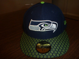SEATTLE SEAHAWKS NEW ERA 59FIFTY 2017 ON FIELD SIDELINE BLUE FITTED HAT ... - $24.99