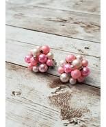 Vintage Clip On Earrings Pink Faux Pearl Beaded - $10.99