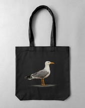 Tote bag in black with print Sea Gull | unisex tote bag - $42.00