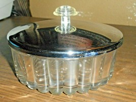 Mid Century Glass Candy Dish W Metal Lid Ribbed Sides Clear Plastic Top - $14.01