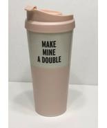 Kate Spade Make Mine Double Thermal Coffee Mug Tumbler & Lid Pink White ... - $11.39