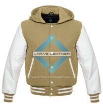 Premium College Varsity Jacket with Hood with White Real Leather Sleeves... - $84.64+