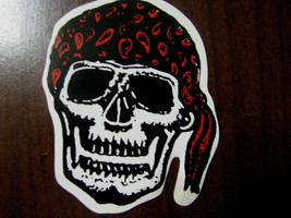 Halloween small sticker skull red bandanna waering a doo rag skeleton - £7.14 GBP