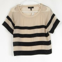 Light beige black tiered striped JESSICA SIMPSON beaded trim sheer blouse S - $19.99