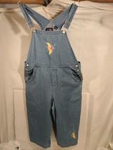Womens Blue Denim Bib Overalls Capri Length C B Casual Embroidered Fish ... - $18.69