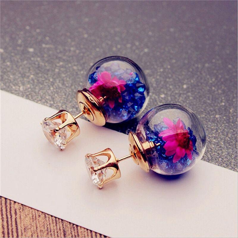 1Pair Fashion Women Lady Elegant Flower Rhinestone Glass Ear Stud Earrings