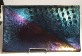 McVay Dichroic Iridescent Plate Contemporary Art Glass fused glass servi... - $107.33