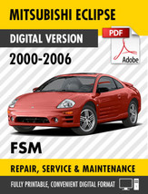 2000 - 2006 Mitsubishi Eclipse / Spyder Factory Service Repair Manual / Workshop - $13.86