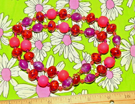 vintage large chunky necklace long neon pink purple red atomic - €8,25 EUR