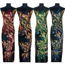 Gold Sequin Peacock Phoenix Feather Lace Fabric Mesh Embroidered Wedding... - $22.99