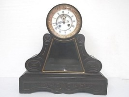 19TH C. FRENCH ANTIQUE BLACK SLATE MANTEL CLOCK - $800.00