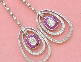 ART DECO 2ctw CUSHION DIAMOND RUBY HALO DOUBLE HOOP DANGLE COCKTAIL EARR... - $6,830.01