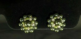 Beautiful Vintage Green AB Rivoli Tension with Cluster Design Clip on Earrings - $19.99