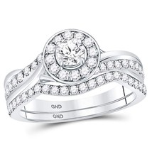 14kt White Gold Round Diamond Bridal Wedding Engagement Ring Band Set 1.00 Ctw - £1,164.05 GBP