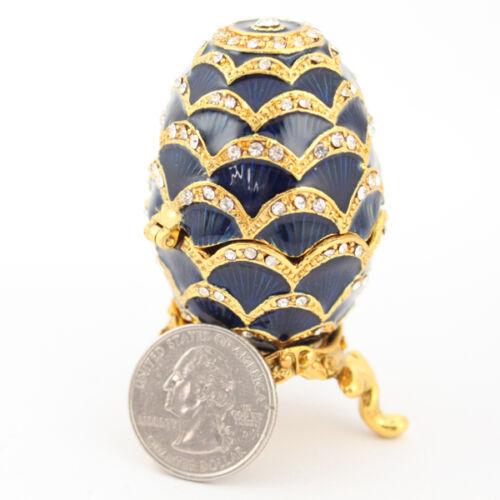 Blue Faberge Egg Jewelry Trinket Box Decoration Present Cute #MCK11 - $31.17