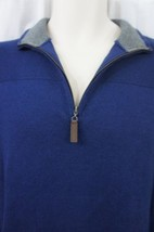 Tasso Elba Sweater Mens Sz M Marine Heather Blue Cotton Knit Casual Henley  - ₨2,535.52 INR