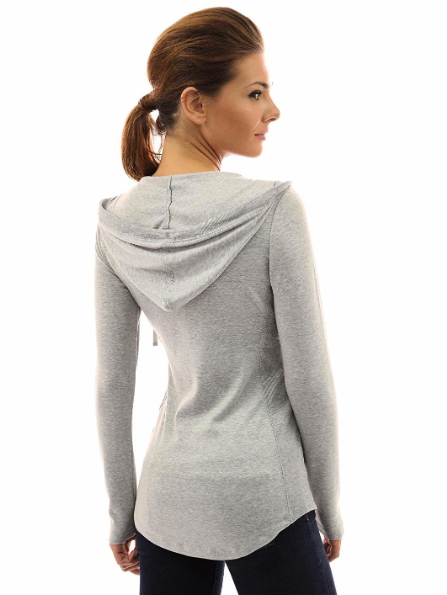 PattyBoutik X-Large (XL) Women's Hoodie Curve Hem Tunic Top Light Heather Grey image 4