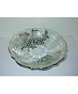 Vintage Elegant Footed Glass Silver Overlay and Rimmed Candy Dish Bowl - $11.88