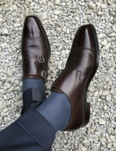Handmade Men Oxford formal monk leather shoes, Dark Brown leather dress shoes - $164.99