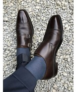 Handmade Men Oxford formal monk leather shoes, Dark Brown leather dress ... - $164.99