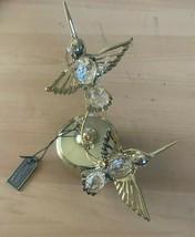 Matashi 24K Gold Plated Two Crystal Studded Hummingbirds Rotating Music Box - $32.00