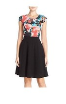 Tahari Cap Sleeve Floral Print Fit & Flare Dress, Black/Coral Sky, 10 - $69.29
