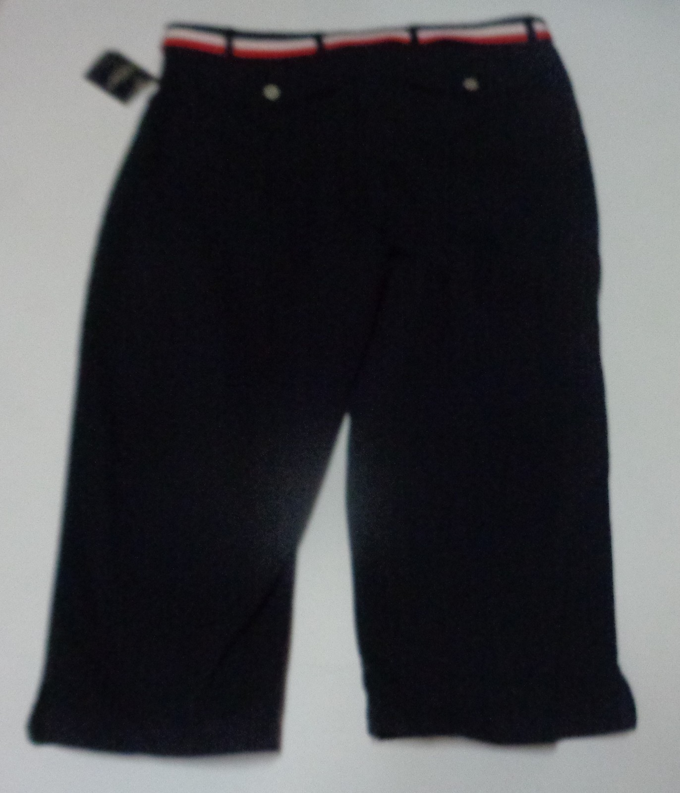 Sonoma Navy Blue Jean Capris NWT SZ 16 Red White & Blue Belt