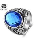 Jiayiqi Fashion Big Blue Stone Cubic Zirconia Ring Men Silver Color Tita... - $10.62
