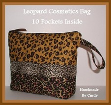 Gold Cosmetic Case Leopard Brown Bag Zippered With Divided Interior Pockets - $29.00