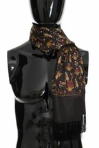 Dolce & Gabanna Mens Luxury Brown Silk Musical Pattern Print Scarf - $236.61