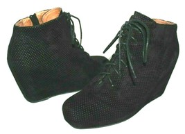 ❤️ Jeffrey Campbell Galeo Perforated Suede Wedge Lace-Up Zip Boots 8.5 M L@@K!02 - $37.04