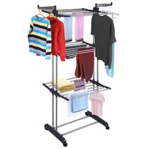 3Tier Stainless Laundry Organizer Folding Drying Rack Clothes Dryer Hang... - £49.74 GBP