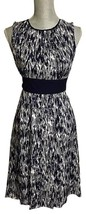 MICHAEL KORS Navy & White Chic 100% Silk Graffiti Dress (Size - 12 ) NWT... - $55.17