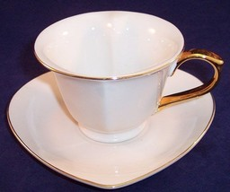 NEW Classic Coffee & Tea Inside Out Heart Ivory with Gold Trim Cup & Sau... - $11.87