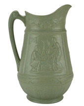 Porcelain Wine Green 1 L Antique Old Neo-classical JUG 19th Century Wate... - $163.07