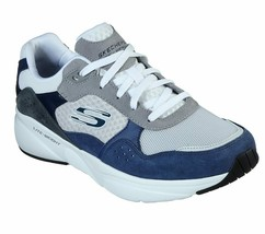 Skechers White Navy shoes Men Memory Foam Sporty Comfort Casual Train Wa... - $49.99