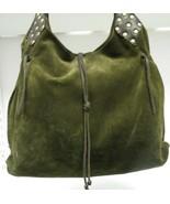 CARLA MANCINI Green Suede & Leather Shoulder Bag w/ Studs on Shoulder St... - $49.99