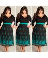Sexy Black Retro Floral Print Boutique Party Dress Size L-3XL Plus - $18.89