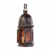 Amber Glass Petite Moroccan Black Metal Candle Lantern - £6.80 GBP