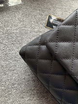 AUTHENTIC BRAND NEW CHANEL QUILTED BLACK CAVIAR SMALL COCO PYTHON HANDLE BAG RHW image 3