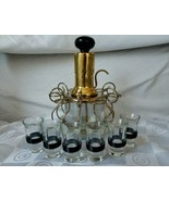 Art Deco Brass Liquor Dispenser Pump Six BLACK Celluloid Band Shot Glass... - $94.95