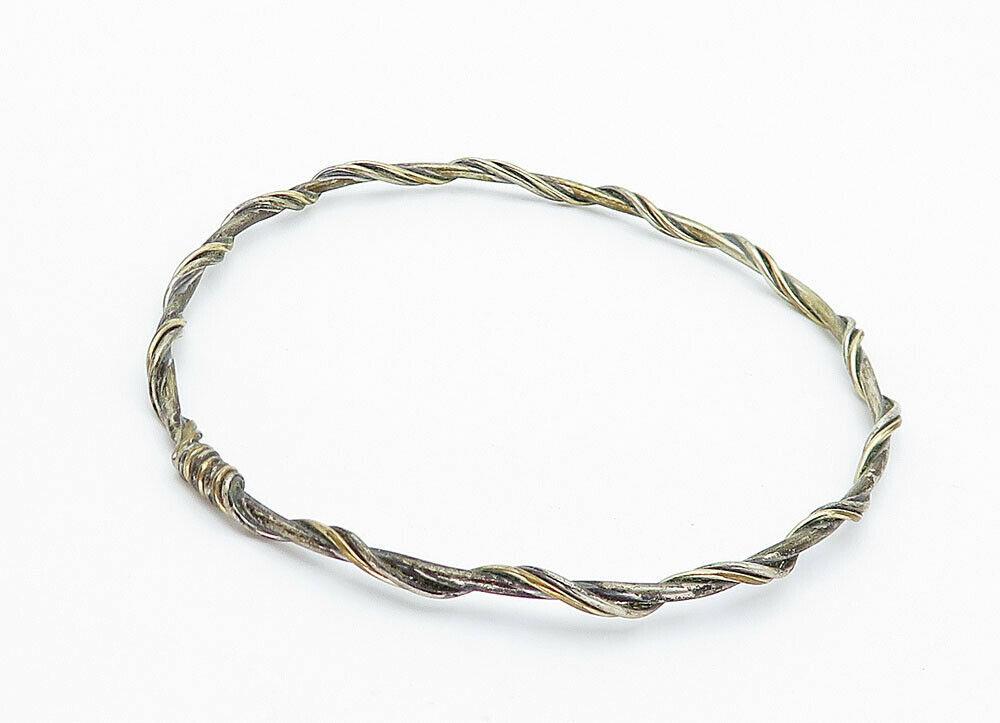 925 Sterling Silver - Vintage Wire Wrapped Twist Petite Bangle Bracelet - B5917