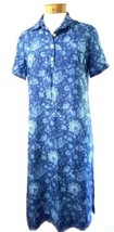 TALBOTS Women's 6 Blue Floral 3/4 Sleeve Tunic Shift Cotton Dress Gown. - $23.21