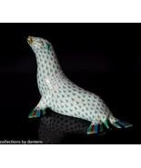 Herend Porcelain Seal Figurine 15366 Green Fishnet - $295.00