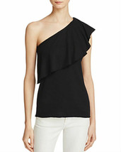 Nation by Jen Menchaca Womens Ruffled Popover Casual Top BLACK MSRP$65.00 - $7.99