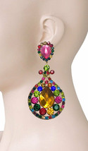"""4"""" Long, Multicolors Acrylic Rhinestones Clip On earrings Pageant Drag Queen - $19.00"""